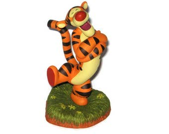 Walt Disney Winnie the Pooh Tigger Figurine Pooh and Friends Ceramic Figure Vintage Gold Bee Bouncing You're Huggerific