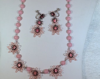 Pink and Black Vintage Necklace and Earrings