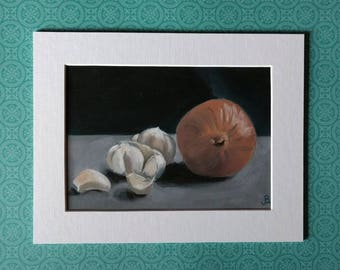"Fine Art Print ""Garlic and Onion"" 5x7 matted to 7x9"