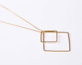 Long Golden Diamond Necklace Gold Plated Necklace Triangle  Golden Necklace Minimal