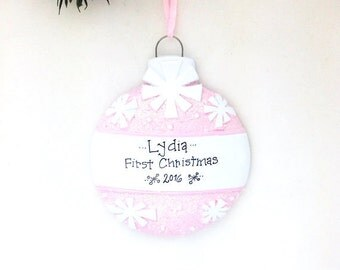 FREE SHIPPING Pink Christmas Ball Personalized Christmas Ornament / Baby's First Christmas / Baby Ornament / Baby Girl