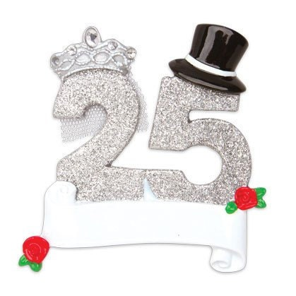 25th Anniversary Personalized Christmas ornament  Couple ornament