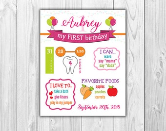 Birthday Stats Printable Bright Colors | Digital File {First Birthday}