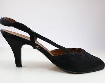Vintage Giorgio Armani Black Silk Slingback heels with original box/ 1990s heels/ Size US 6B EU 37