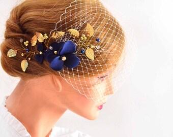 Birdcage veil with headpiece Bridal hair clip with mini veil birdcage veil  Birdcage veil headband Bridal hair comb