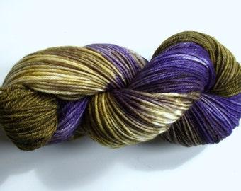 Hand dyed merino and silk yarn DK weight, handpainted yarn 80/20 superwash merino/silk, handdyed merino silk yarn, 280 yds. 4 oz.