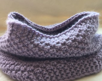 Woman's winter wool purple cowl, knit neck warmer