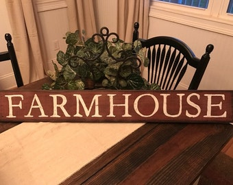 Rustic Wood Farmhouse Sign Country Red Distressed