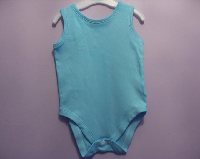 Sleeveless Bodysuit - 12-18 Months -  Bahama Blue Block Dye