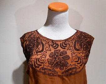 Vintage Rust Brown Bronze Colored Beaded Silk Flapper Dress, c. 1920