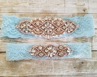 Sale -Wedding Garter and Toss Garter-Crystal Rhinestone with Rose Gold Details -Light Blue Lace - Style G20903RGLB