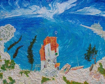 Seaside House - Mediterranean view - original painting