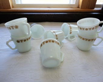 Pyrex Gold Butterfly Pattern Coffee Mugs Set Of 8 Milk Glass Cups