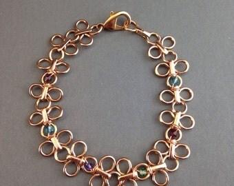 Rose Gold bracelet, Boho bracelet, Swarovski crystals bracelet, chain link bracelet, rose gold jewelry, women's jewelry, Daisy Chain