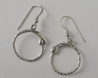 Silver Ouroboros Earrings, Dangly Snake Hoops, Snake Eating its Tail, Snake Earrings, Sterling Silver Ouroboros Jewelry