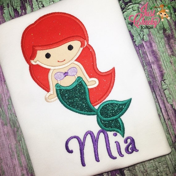 Ariel Inspired Mermaid Cutie Embroidered Shirt - The Little Mermaid - Mermaid Ariel - Disney Vacation - Disney Birthday