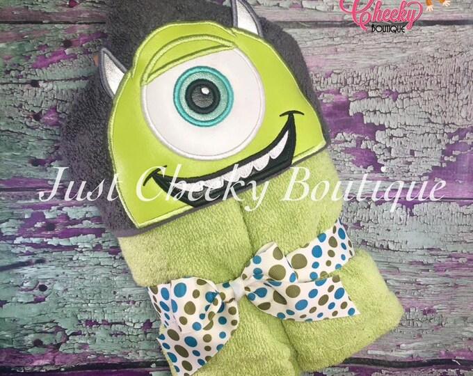 Monsters Inc Inspired Hooded Towel - Sulley - James P Sullivan - Sully -Mike Wazowski - Disney Birthday -Monsters University-Disney Vacation