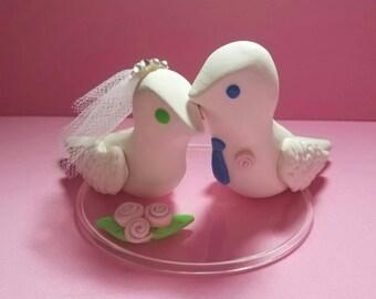 LOVELY BIRDS Groom and Bride handmade clay wedding cake topper