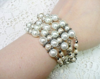 OOAK Vintage Strand White/Ivory Pearl Bracelet - handmade -Deco Clasp- faux pearls - adjustable - silver tone metal - chunky faux pearl gift