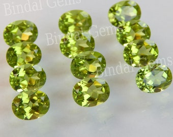 25 Pieces Natural Peridot Gemstone Shape Oval Faceted Cut