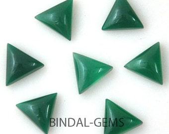 10 Pieces Fine Quality Lot Green Onyx Triangle Shape Loose Cabochon Gemstone