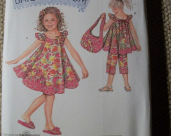 Simplicity 2466 Child's (Size A 3-4-5-6-7-8)  dress, top, capri pants, tote, headband and ponytail holder.  Daisy Kingdom