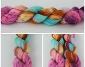 Simple Sock - Hand dyed yarn 50 gm {Give Thanks} speckled sock yarn, orange yarn, blue yarn, aqua yarn, pink yarn, purple yarn