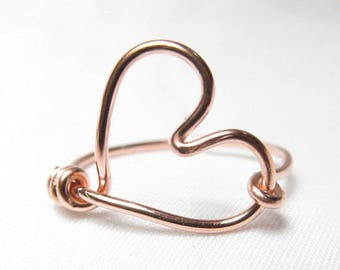Rose Gold Heart Ring, Heart Wire Ring, Valentines Day Gift, Heart Shaped Ring, Love Ring Size 2 3 4 5 6 7 8 9 10 11 12 13 14, Pink Gold Ring
