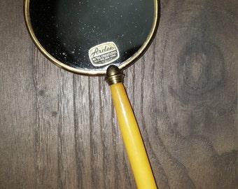 Vintage bakelite, bakelite mirror, hand mirror, butterscotch