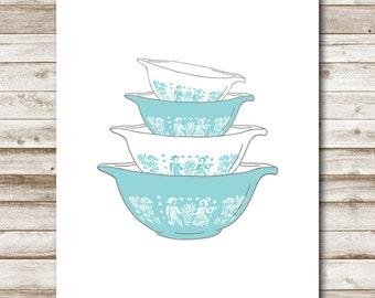 Vintage Pyrex Printable Kitchen Printable Wall Art Pyrex Bowls Aqua Blue Kitchen Decor 4x6 5x7 8x10 11x14 16x20