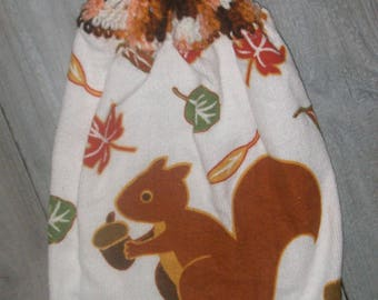 Crochet Top Hanging Kitchen Fridge Oven Printed Dishtowel Brown Squirrel Tossed Acorns Autumn Leaves *No Button/Button* Handmade by HCF&D