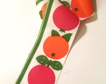 60s vintage decorative ribbon with apples. Cotton fruit textile ribbon band