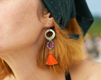 Long tassel earrings, Gold statement earrings, Purple jade earrings, Orange boho earrings, Unique Dangle earrings, Jewelry for women, 1163-3
