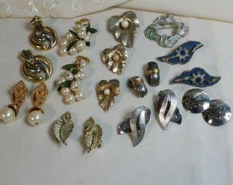 Vintage earring lot. Vintage pins. miscellaneous jewelry. large lot earrings earring lot old earrings vintage earrings.