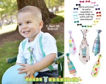 Toddler Boy Easter Outfit - Baby Boy Easter Outfit with Teal Plaid Tie - Easter Shirt - Boys Easter Clothes - Tie and Suspenders - Spring