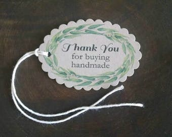 """Eucalyptus Wreath, Buy Handmade Hang Tags, small business, appreciation tags, sized 2 1/2"""" x 1 3/4"""", set of 12"""