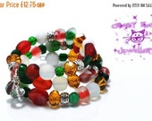 ON SALE Christmas Memory wire bracelet