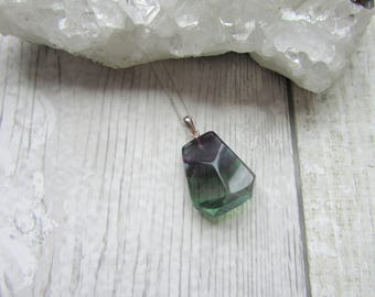 Fluorite 925 Sterling Silver Shaped Gemstone Pendant Necklace Natural Polished Stone