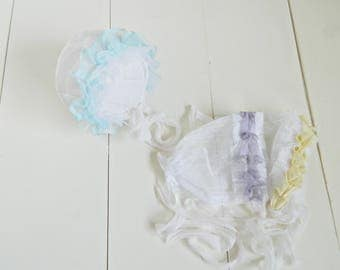 Baby Bonnets Newborn Bonnets Photo Props Dotted Lace White Bonnets Spring Bonnets Baby Girl Bonnets Baby Hats Photography Props Lavender