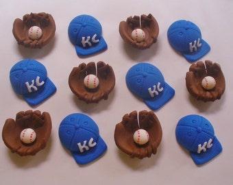 12 BASEBALL Theme Fondant Cupcake Toppers