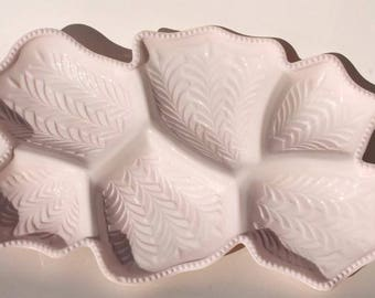 SHELL PINK Milk Glass 6 Part Relish Tray Dish JEANNETTE