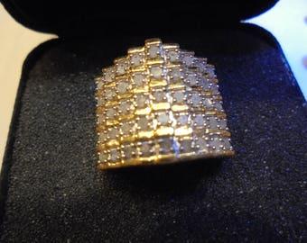 Sterling Silver  1 ct  Diamond  Pyramid   Ring