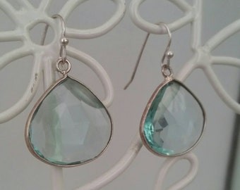 Topaz and sterling silver teardrop earrings in a beautiful aqua color