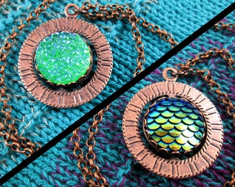 Spinner Pendant Necklace - Copper, Teal, Green - Stim Jewelry