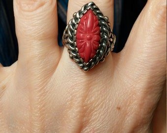 Carolyn Pollack Etched Sterling Silver  Red Coral SZ 6 Ring