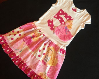 Boutique Birthday number or initial appliqued Barbie ruffle dress withpolka dot trim- all toddler and girl sizes