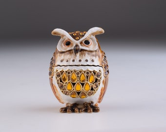 Brown Owl Faberge Styled Trinket Box Handmade Decorated with Swarovski Crystals