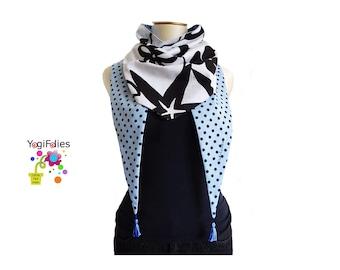Fabric scarf, Fabric triangle scarf, polka dots scarf, polka dots triangle scarf, polka dots chèche, fabric chèche, flower, polka dots