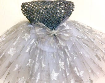 Just Wanta Be A Star- Silver Tutu Ready2Ship Perfect for: spring, Easter, OOC, pageant wear, photo prop, birthday tutu,