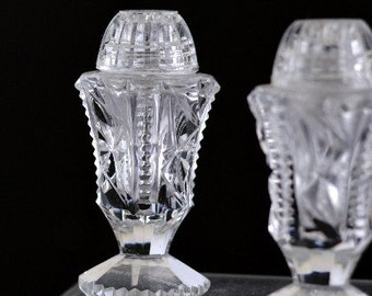 Cut Glass Salt & Pepper Shakers Czech Formal Dining Crystal Glass